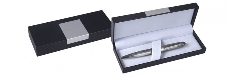 black gift box with aluminum plate
