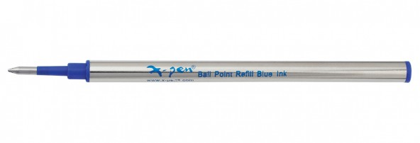 Metal roller refill, blue ink, metal case 1 pack (10 pcs) - German tip, German ink